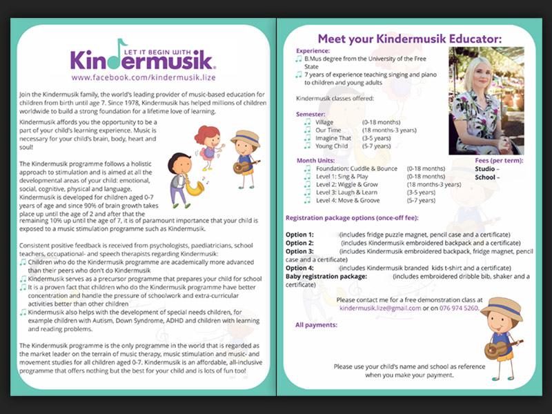 Kindermusiek flyer 01 - Kindermusiek with Lize – Flyer design