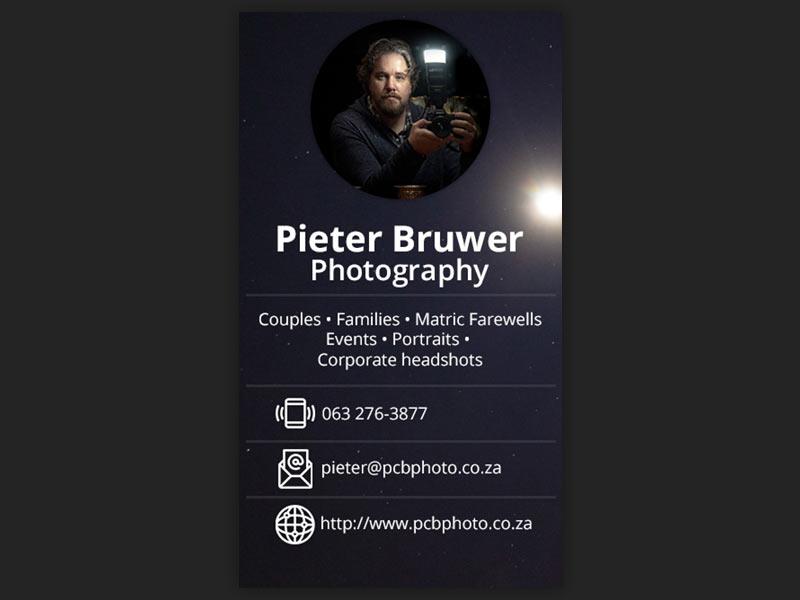 digital business cards 01 - Pieter Bruwer Photography – Digital business cards