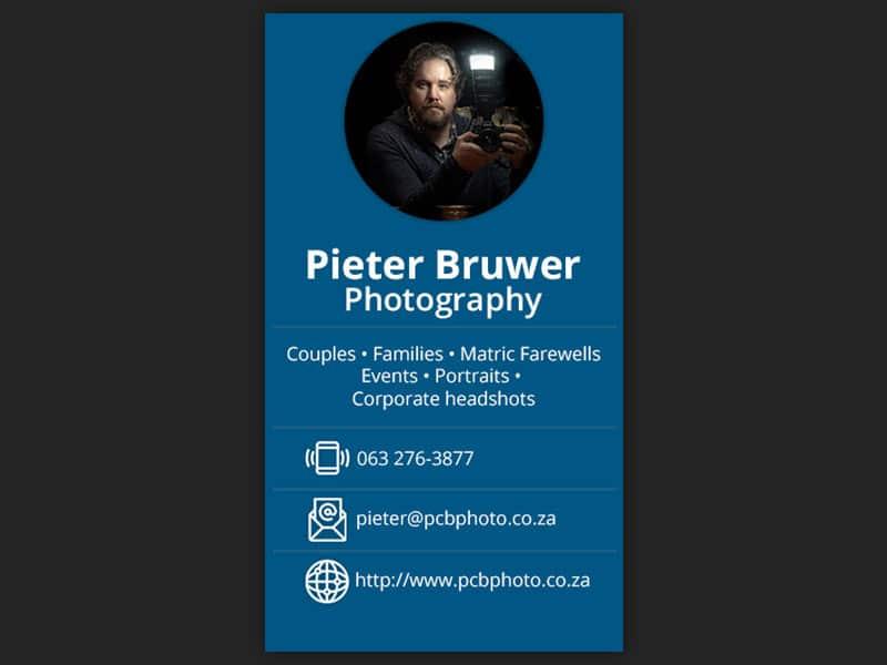 digital business cards 02 - Pieter Bruwer Photography – Digital business cards