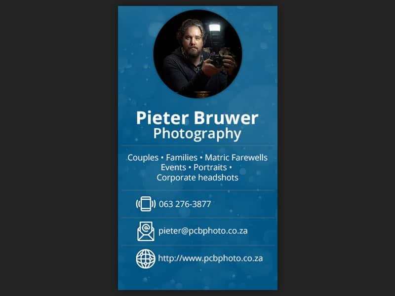 digital business cards 03 - Pieter Bruwer Photography – Digital business cards