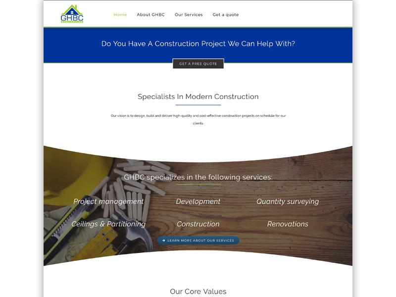 ghbc website 01 - GHBC – Website design