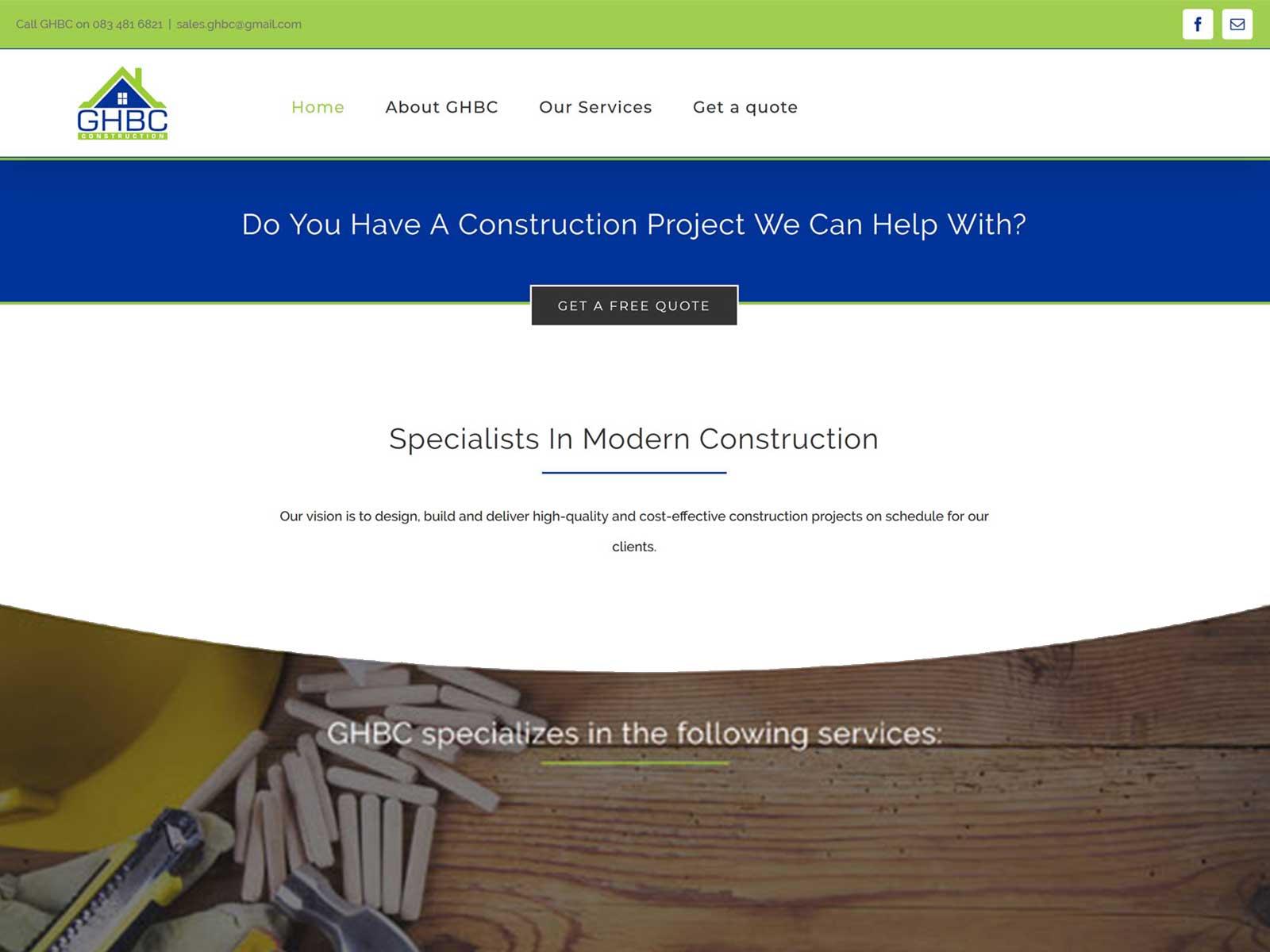 GHBC – Website design